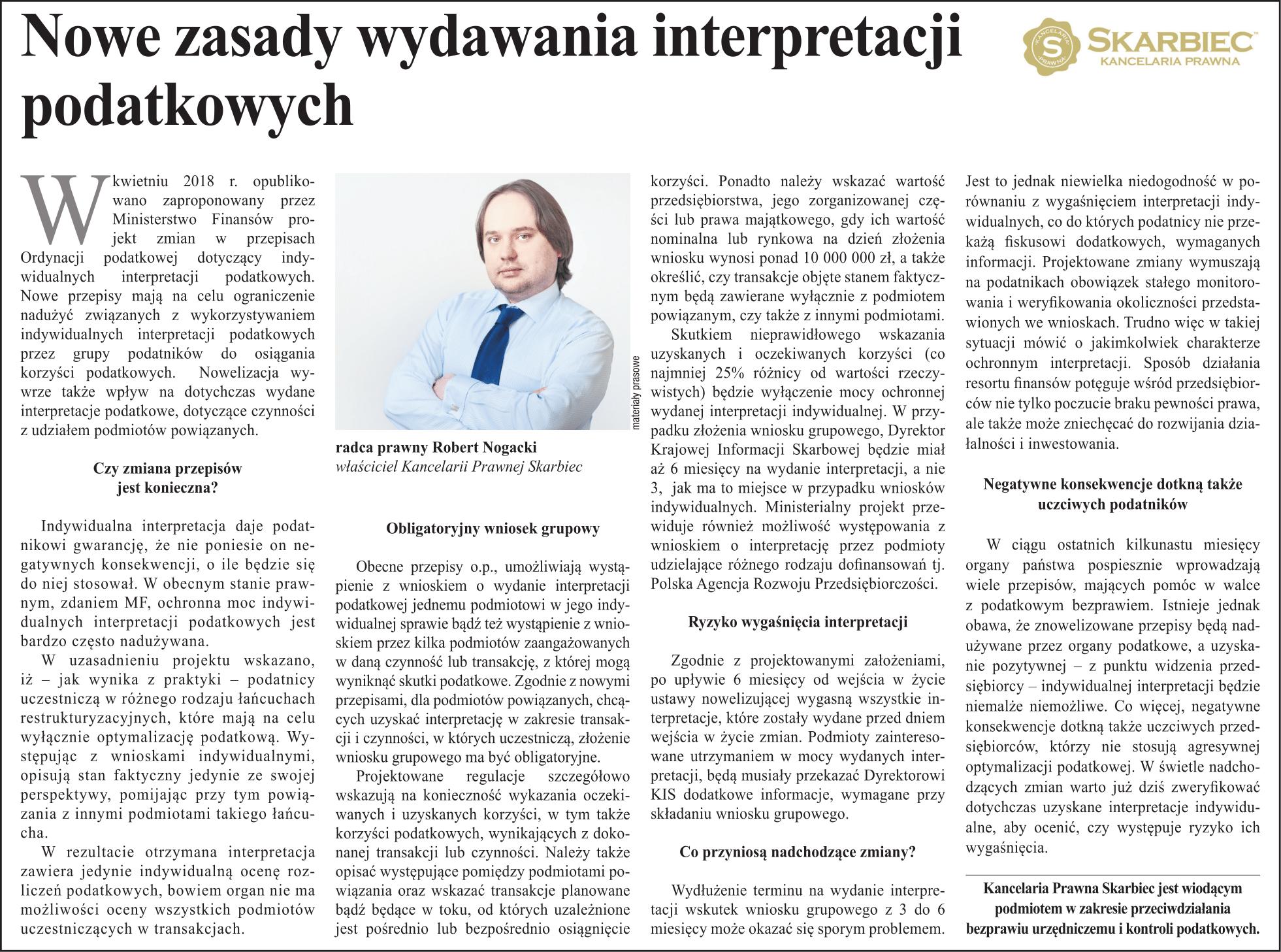 """16139c942c1a6b Nasza rubryka w dzienniku """"Rzeczpospolita"""":"""